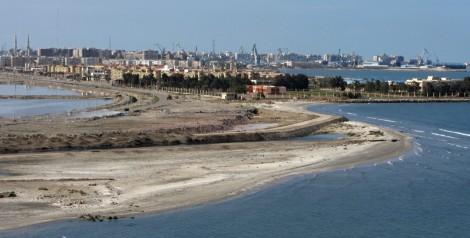 Velké panorama města Port Said v Egyptě